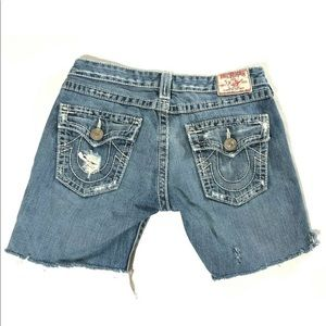 True Religion Burmuda Distressed Cutoff Shorts